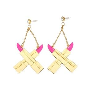 Jewelry - Personality Gold Acrylic Pink Lipstick Earrings